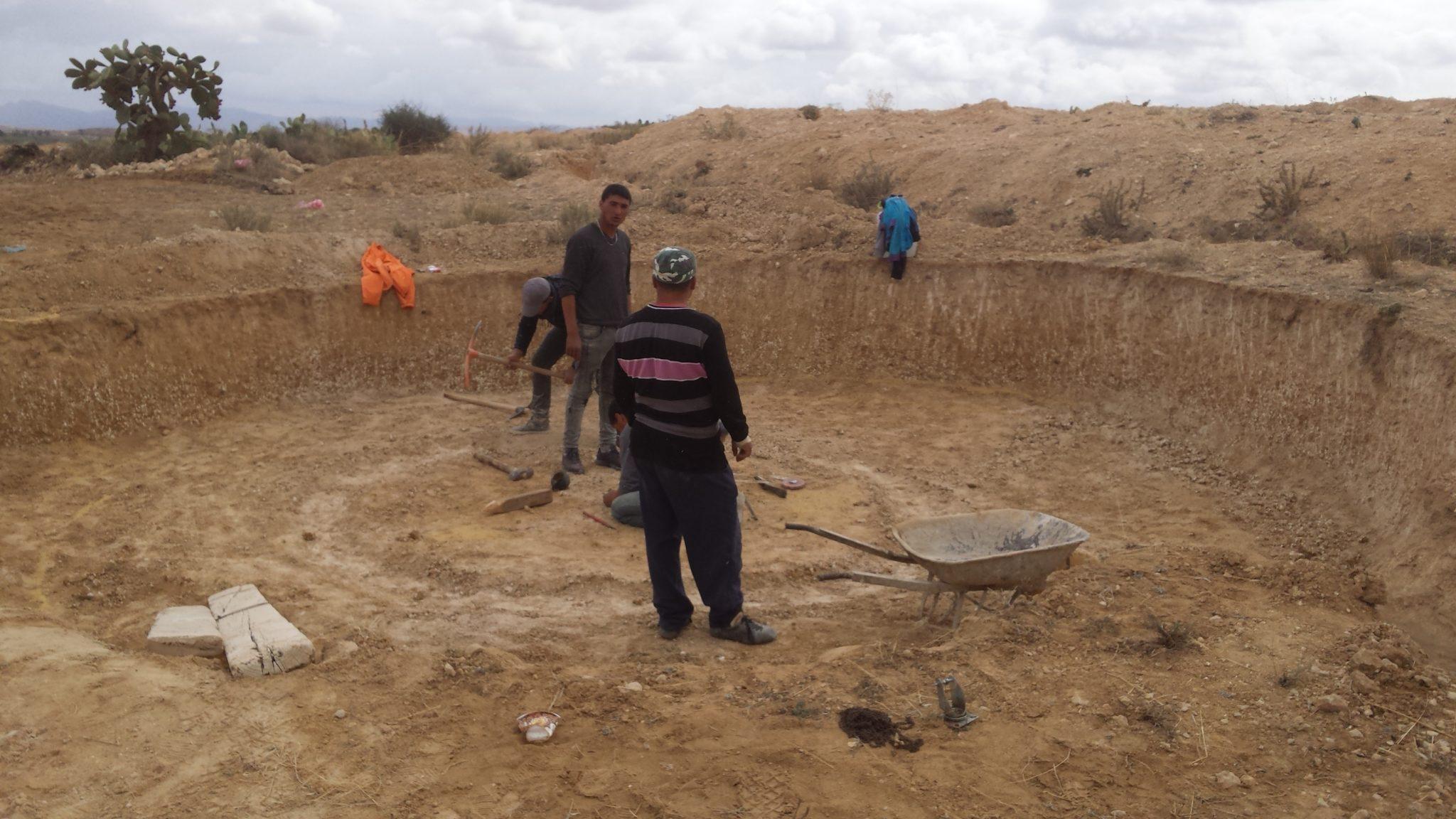 Fondations Hammam Superadobe dôme Tunisie